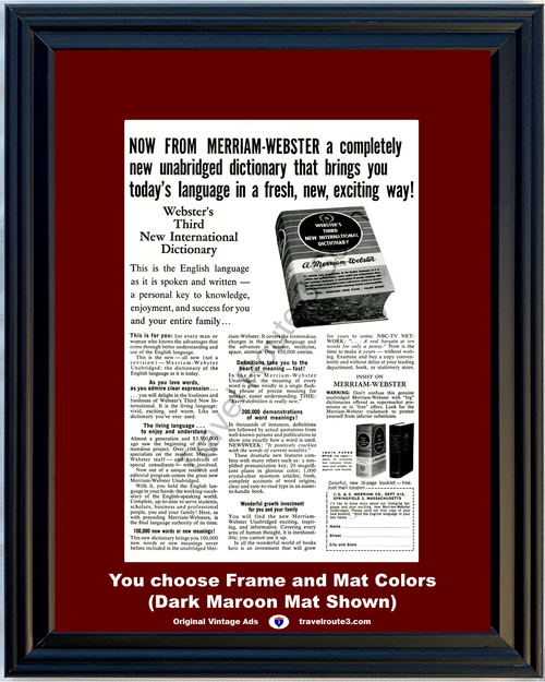 1962 62 Merriam Webster Unabridged English Third New International Dictionary Vintage Ad