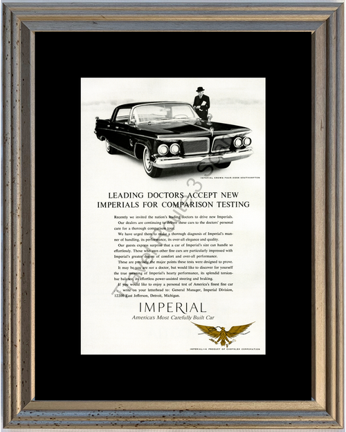 1962 Chrysler Imperial Crown Vintage Ad 62 4 Door Southampton Doctors Comparison *You Choose Frame-Mat Colors-Free USA S&H*