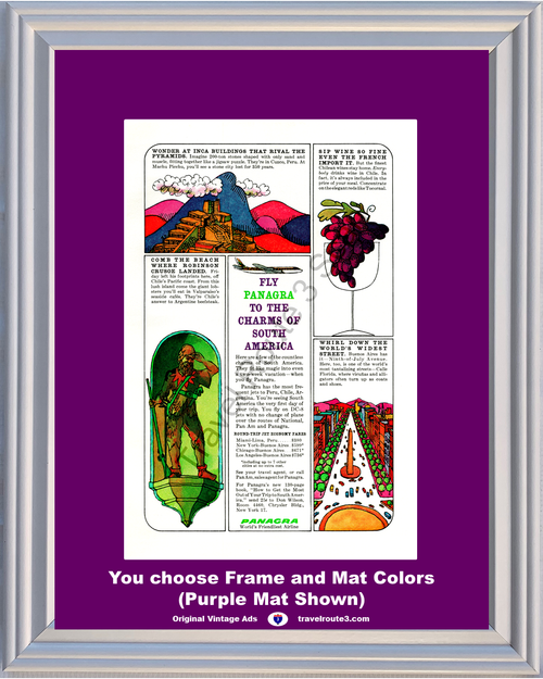 1962 Panagra South America Peru Vintage Ad Chile Argentina Machu Picchu Buenos Aires Airline Travel 62 *You Choose Frame-Mat Colors-Free USA S&H*