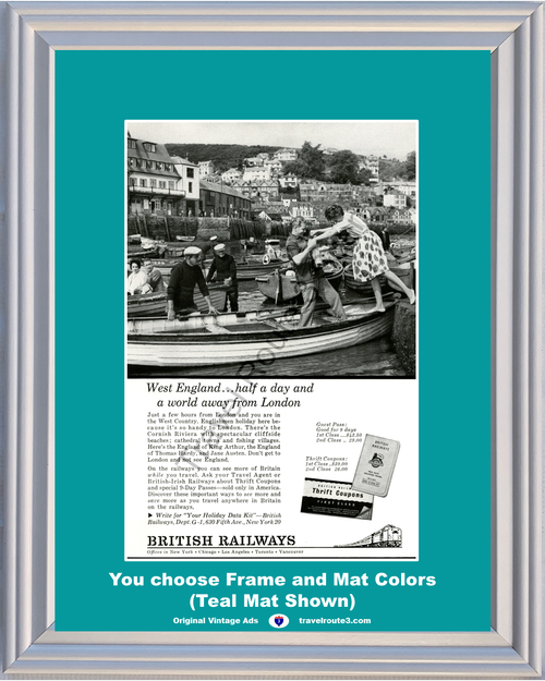1962 British Railways West England Country Vintage Ad Fishing Village Train Vacation Travel 62 *You Choose Frame-Mat Colors-Free USA S&H*