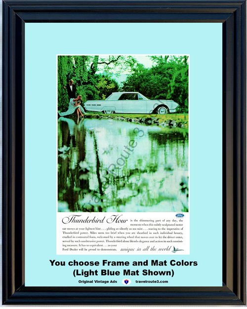 1962 Ford Thunderbird T-Bird Vintage Ad 62 TBird Baby Blue Luxury *You Choose Frame-Mat Colors-Free USA S&H*