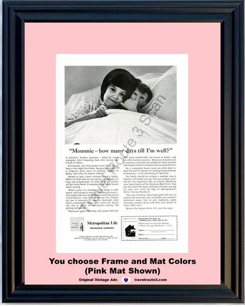 1962 Metropolitan Life Insurance Vintage Ad Met Home Health Care Nursing 62 *You Choose Frame-Mat Colors-Free USA S&H*