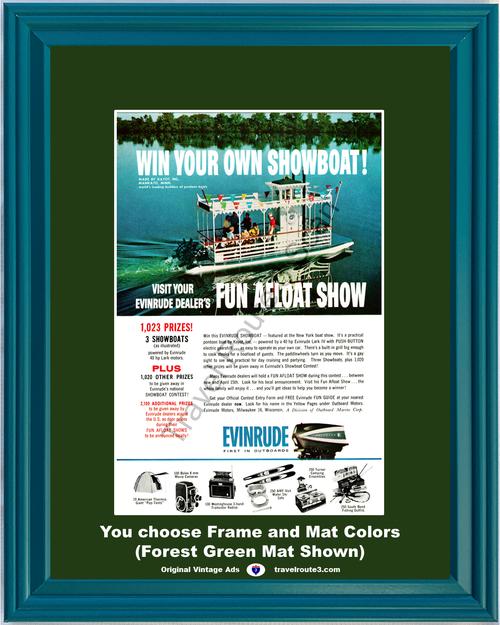 1962 Evinrude Outboard Motors Vintage Ad Pontoon Showboat Paddlewheel Boat 62 *You Choose Frame-Mat Colors-Free USA S&H*