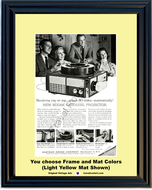 1962 62 Eastman Kodak Carousel Revolving 80 Slide Tray Projector Vintage Ad