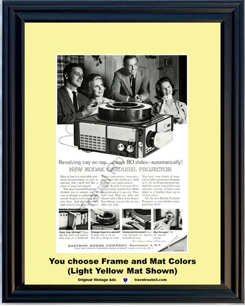 1962 Eastman Kodak Carousel Vintage Ad Revolving 80 Slide Tray Projector 62 *You Choose Frame-Mat Colors-Free USA S&H*