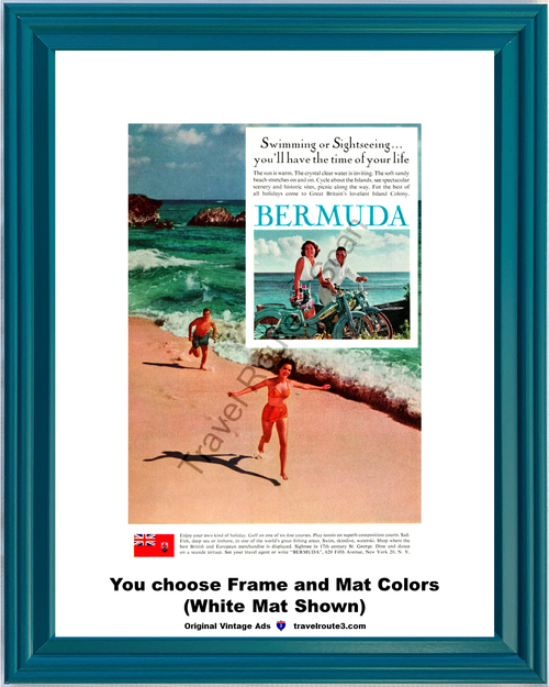 1962 Bermuda Swimming Sightseeing Vintage Ad Beach Cycle Great Britain Island Colony Vacation Travel 62 *You Choose Frame-Mat Colors-Free USA S&H*