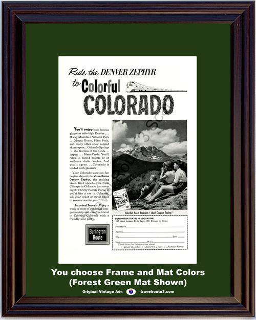 1962 62 Burlington Route Colorful Colorado Denver Zephyr Rocky Mountain Railway Train Vacation Travel Vintage Ad