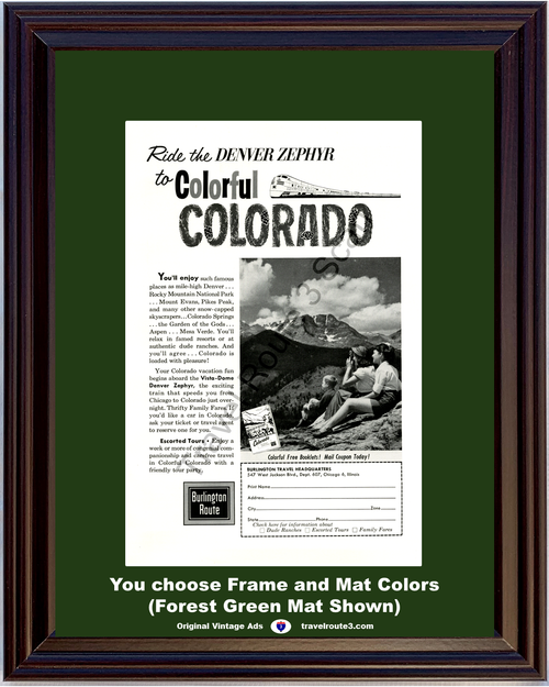1962 Burlington Route Colorful Colorado Vintage Ad Denver Zephyr Rocky Mountain Train Vacation Travel 62 *You Choose Frame-Mat Colors-Free USA S&H*