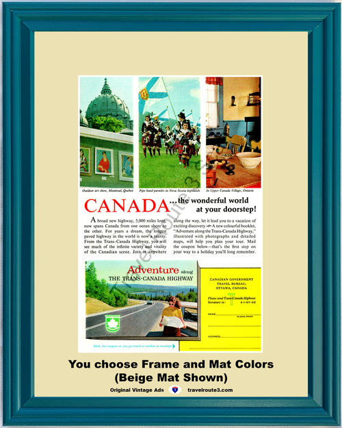 1962 Trans Canada Highway Montreal Vintage Ad Nova Scotia Highlands Ontario Vacation Travel 62 *You Choose Frame-Mat Colors-Free USA S&H*