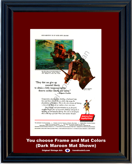 1962 Benjamin Franklin Quote Vintage Ad America Fore Loyalty Group Insurance John Paul Jones 62 *You Choose Frame-Mat Colors-Free USA S&H*
