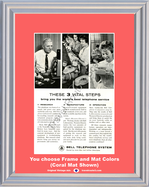 1962 Bell Telephone Western Electric Vintage Ad Research Manufacture Operation 62 *You Choose Frame-Mat Colors-Free USA S&H*