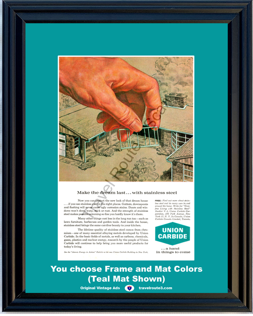 1962 Stainless Steel House Vintage Ad Union Carbide Home Chromium Chrome Manufacturer American Dream 62 *You Choose Frame-Mat Colors-Free USA S&H*