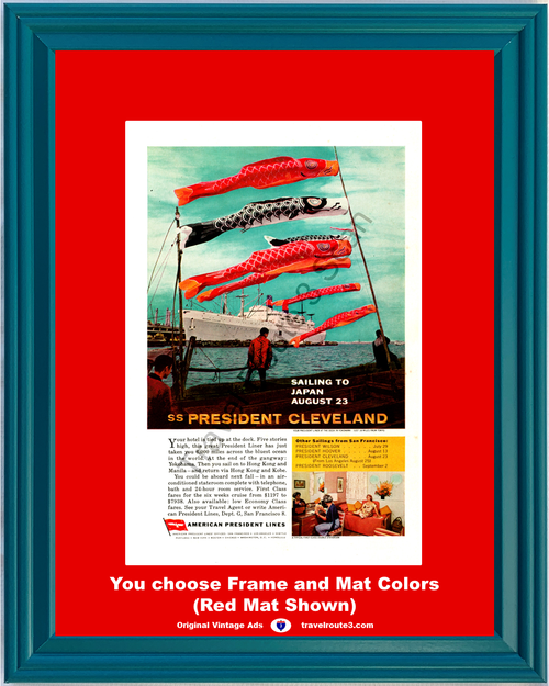 1962 American President Lines Cruise Japan Vintage Ad China Philippines SS Cleveland Vacation Travel 62 *You Choose Frame-Mat Colors-Free USA S&H*