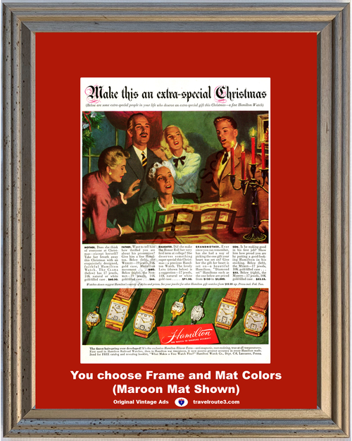 1947 Hamilton Watch Jewelry Vintage Ad Clara Wesley Norman Lana Myron Martin Christmas 47 *You Choose Frame-Mat Colors-Free USA S&H*