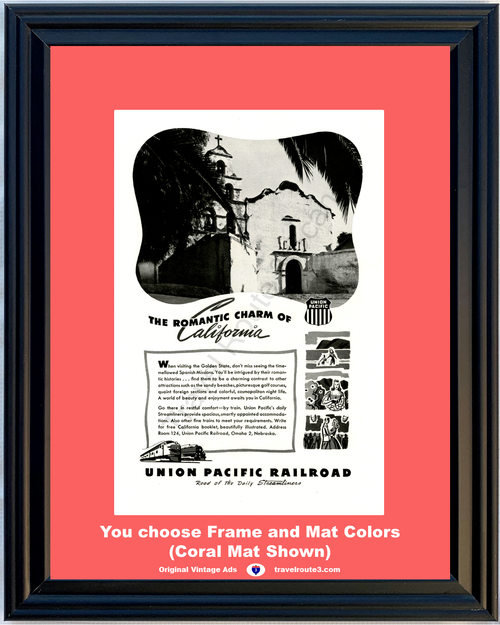 1947 47 Union Pacific Railroad California Spanish Mission Basilica San Diego de Alcala Golden State Vacation Travel Vintage Ad
