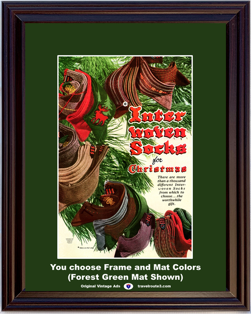 1947 Inter Woven Socks Vintage Ad for Christmas Gift Present 47 *You Choose Frame-Mat Colors-Free USA S&H*