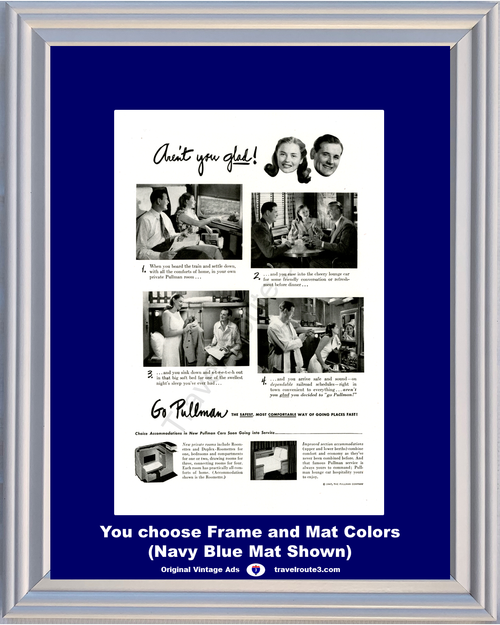 1947 Go Pullman Train Railway Railroad Vintage Ad Private Room Travel 47 *You Choose Frame-Mat Colors-Free USA S&H*