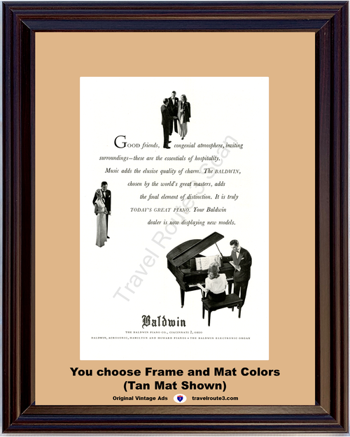 1947 Baldwin Piano Electronic Organ Vintage Ad Acrosonic Hamilton Howard 47 *You Choose Frame-Mat Colors-Free USA S&H*