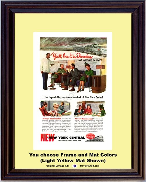 1947 New York Central System Vintage Ad Train Railway Water Level Route Vacation Travel 47 *You Choose Frame-Mat Colors-Free USA S&H*