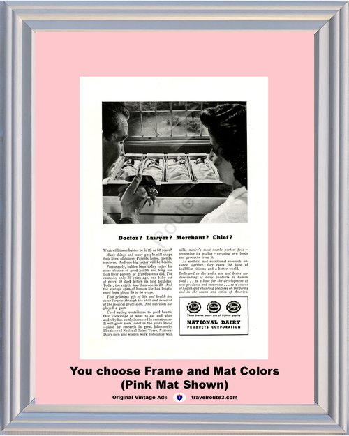 1947 Milk National Dairy Products Vintage Ad Kraft Sealtest Breyers Health and Wellness 47 *You Choose Frame-Mat Colors-Free USA S&H*