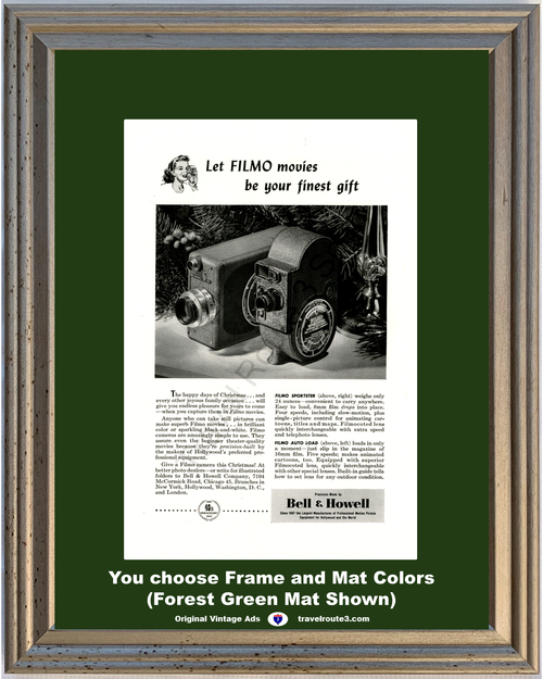 1947 Bell and Howell Filmo 16mm Vintage Ad Sportster Movie Camera Christmas 47 *You Choose Frame-Mat Colors-Free USA S&H*