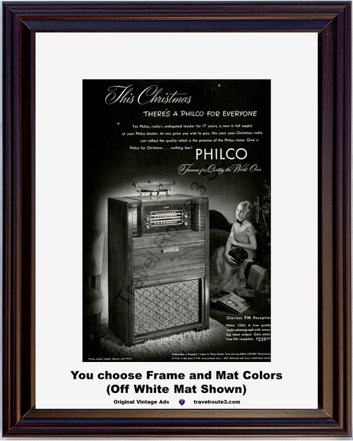 1947 Philco FM Radio Phonograph Vintage Ad Record Player Console Christmas 47 *You Choose Frame-Mat Colors-Free USA S&H*