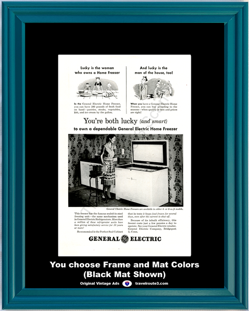 1947 General Electric GE Home Freezer Vintage Ad Appliance Perfect Seal Cabinet 47 *You Choose Frame-Mat Colors-Free USA S&H*