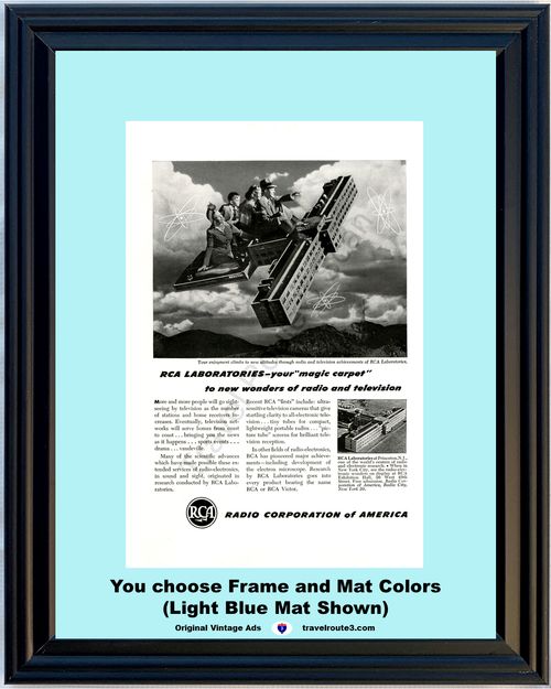 1947 RCA Radio Corporation of America Vintage Ad Radio Television Laboratories Science 47 *You Choose Frame-Mat Colors-Free USA S&H*