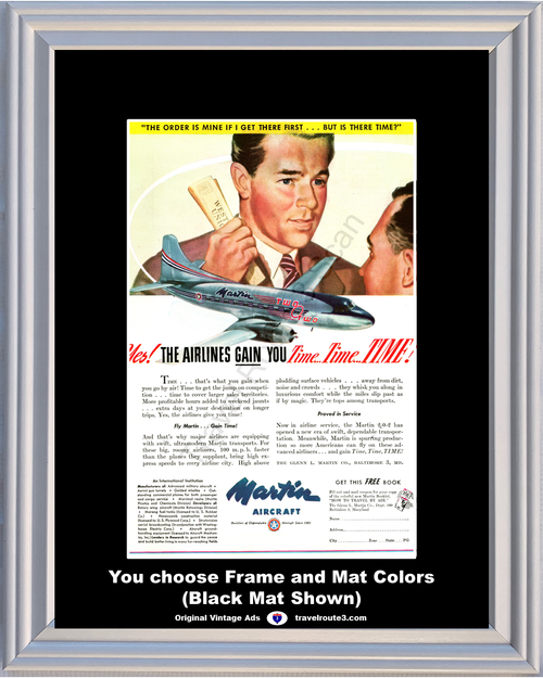 1947 4Martin Aircraft Airlines Vintage Ad 2-0-2 Airplane Time Sales Travel 47 *You Choose Frame-Mat Colors-Free USA S&H*