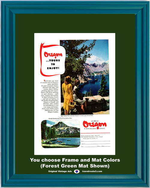 1947 Oregon Cloud Cap Viewpoint Vintage Ad Crater Lake National Park Gunsight Mountain Anthony Vacation 47 *You Choose Frame-Mat Colors-Free USA S&H*