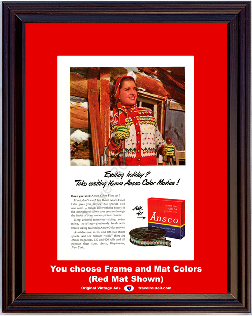 1947 Ansco Color Movie Vintage Ad 16mm Camera Film Ski Skiing Christmas Exciting Holiday Log Cabin 47 *You Choose Frame-Mat Colors-Free USA S&H*