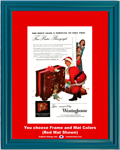 1947 Westinghouse Home Radio Vintage Ad FM AM Phonograph Record Player Cabinet Christmas 47 *You Choose Frame-Mat Colors-Free USA S&H*