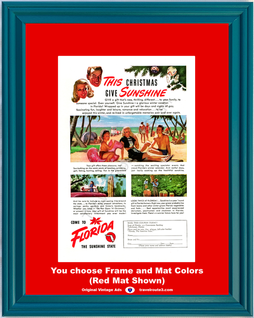 1947 Florida Beach Singing Tower Vintage Ad Vacation Travel The Sunshine State Farmers 47 *You Choose Frame-Mat Colors-Free USA S&H*