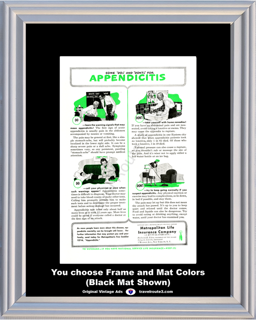 1947 Metropolitan Life Insurance Company Vintage Ad Met Appendicitis Health and Wellness 47 *You Choose Frame-Mat Colors-Free USA S&H*