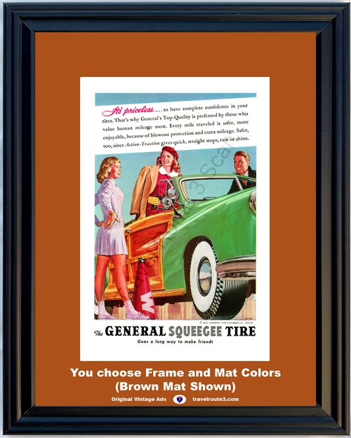 1947 47 General Tire and Rubber Woody Convertible Squeegee Action Traction Vintage Ad