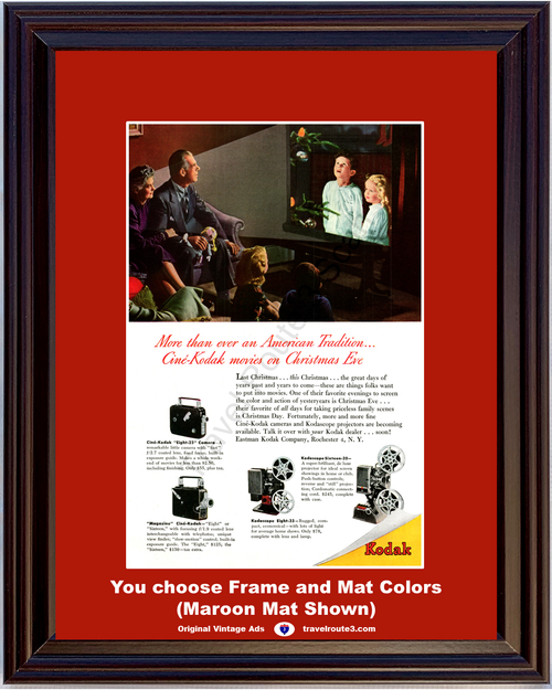 1947 Rochester Cine Kodak Vintage Ad 8mm 16mm Movie Camera Projector Christmas 47 *You Choose Frame-Mat Colors-Free USA S&H*