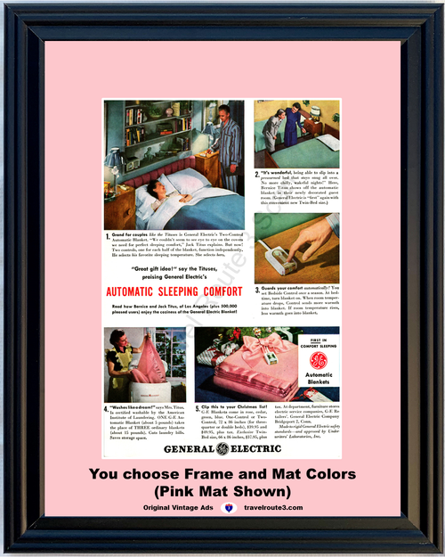 1947 General Electric GE Vintage Ad Two Control Automatic Blanket Christmas 47 *You Choose Frame-Mat Colors-Free USA S&H*