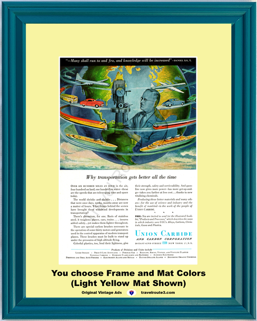 1947 Union Carbide Planes Trains Automobiles Vintage Ad Cruise Ships Transportation Buses Chromium 47 *You Choose Frame-Mat Colors-Free USA S&H*