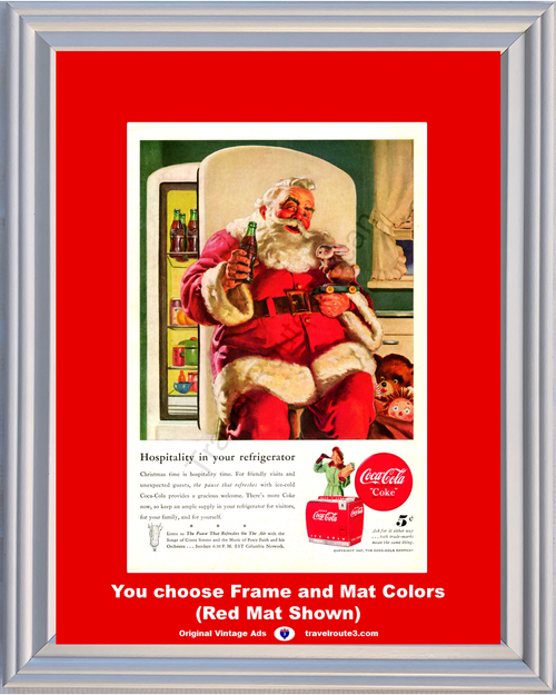 1947 Coca Cola Coke Christmas Vintage Ad Santa Claus Cooler Button The Pause That Refreshes 47 *You Choose Frame-Mat Colors-Free USA S&H*