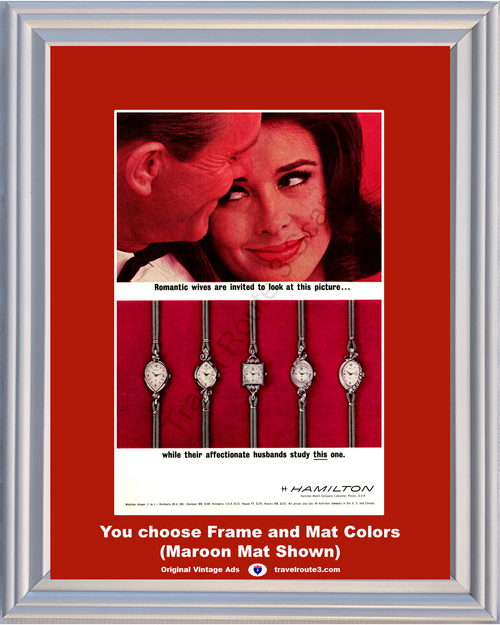 1963 Hamilton Watch Romantic Wives Vintage Ad Husbands Romance Kimberly Glamour Vogue Aurora 63 *You Choose Frame-Mat Colors-Free USA S&H*