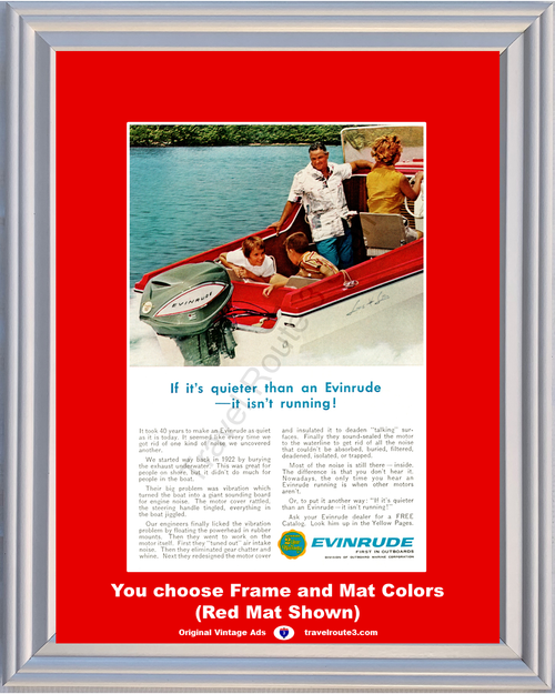 1963 Evinrude Outboard Marine Corporation Vintage Ad Boat Boating Motor 63 *You Choose Frame-Mat Colors-Free USA S&H*