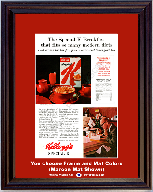 1963 Kellogg's Special K Breakfast Vintage Ad Cereal Health Diet Lose Weight 63 *You Choose Frame-Mat Colors-Free USA S&H*