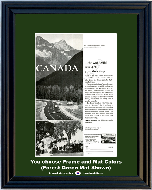 1963 Trans Canada Highway Vintage Ad Revelstoke British Columbia Canadian Vacation Travel 63 *You Choose Frame-Mat Colors-Free USA S&H*