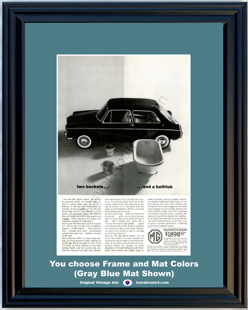 1963 MG Sports Sedan Vintage Ad 63 Buckets Bathtub British Sports Car *You Choose Frame-Mat Colors-Free USA S&H*