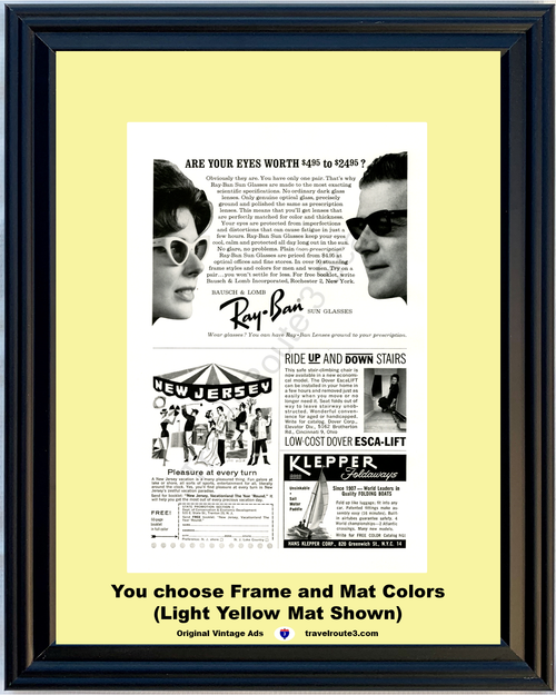 1963 Bausch & Lomb Ray Ban Sun Glasses Vintage Ad Eye Prescription 63 *You Choose Frame-Mat Colors-Free USA S&H*