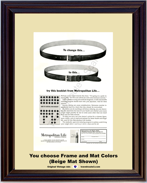1963 Metropolitan Life Insurance Weight Loss Vintage Ad Diet Health and Wellness Belt 63 *You Choose Frame-Mat Colors-Free USA S&H*
