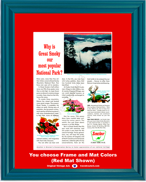 1963 Great Smoky Mountains National Park Vintage Ad Tennessee North Carolina Vacation Travel 63 *You Choose Frame-Mat Colors-Free USA S&H*