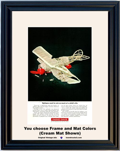 1963 Parke Davis Medicine Epilepsy Vintage Ad Anti Seizure Drugs Vintage Ad 63 *You Choose Frame-Mat Colors-Free USA S&H*