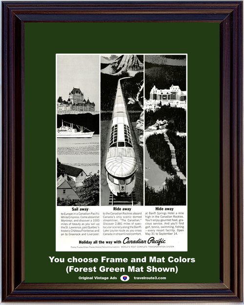 1963 Canadian Pacific White Empress Vintage Ad Cruise Rockies Chateau Frontenac Vacation Travel 63 *You Choose Frame-Mat Colors-Free USA S&H*