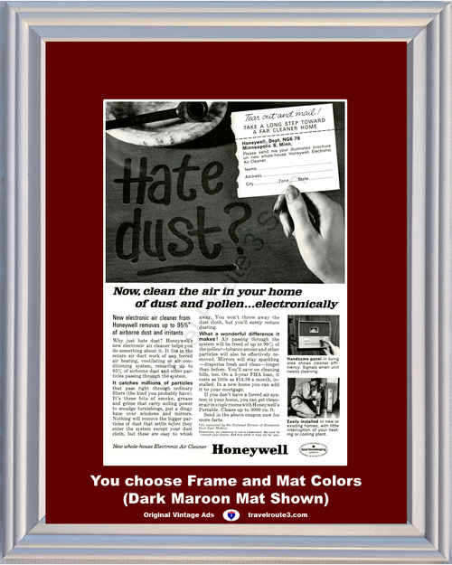 1963 Honeywell Whole House Vintage Ad Electronic Air Cleaner Hate Dust 63 *You Choose Frame-Mat Colors-Free USA S&H*